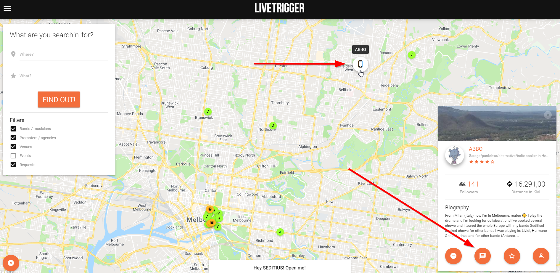 Here's how you can find abbo on LiveTrigger