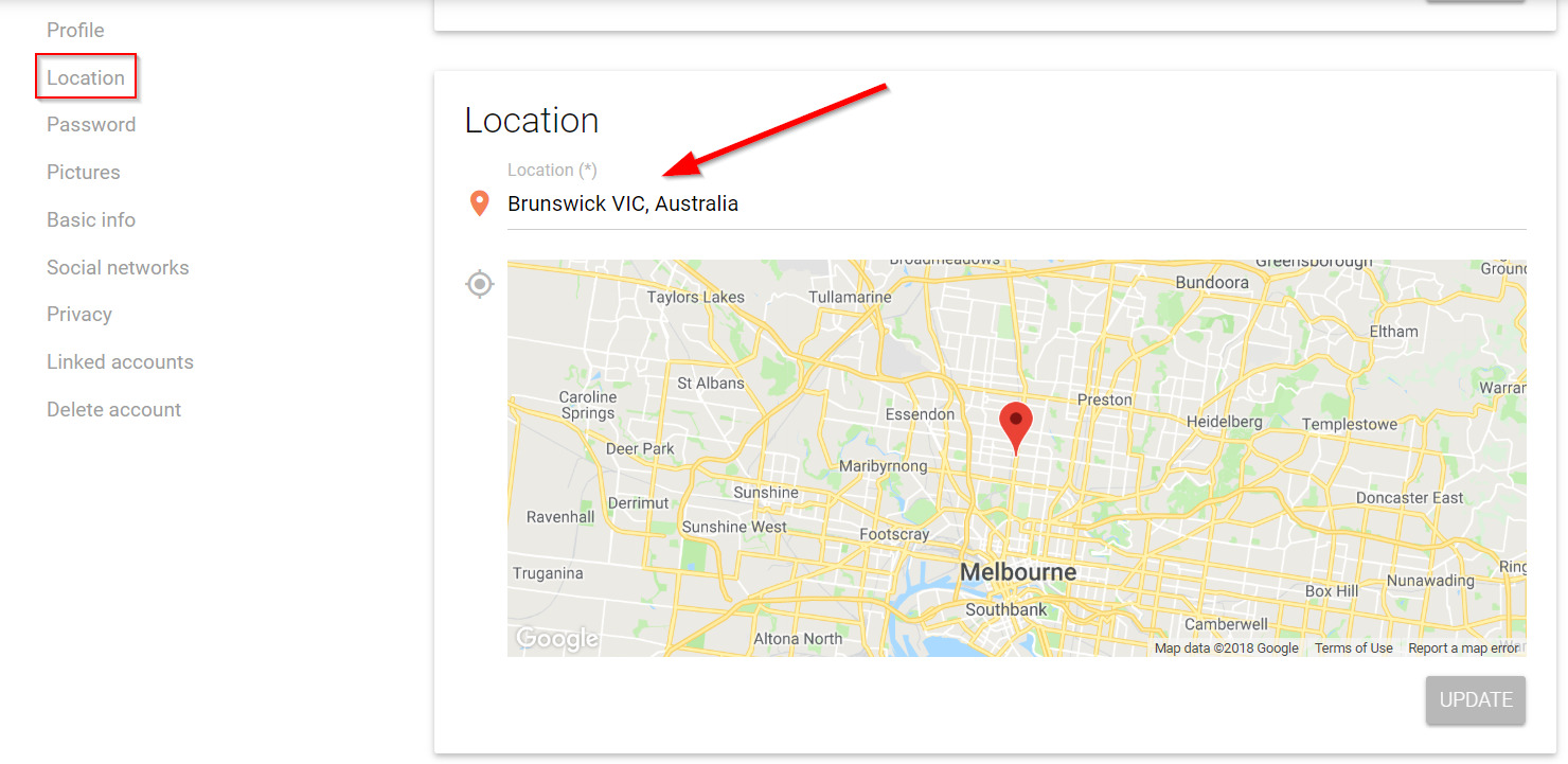 Click location and select your location