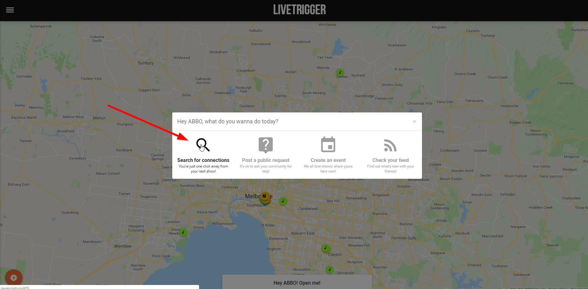 The first step you need to book shows on LiveTrigger