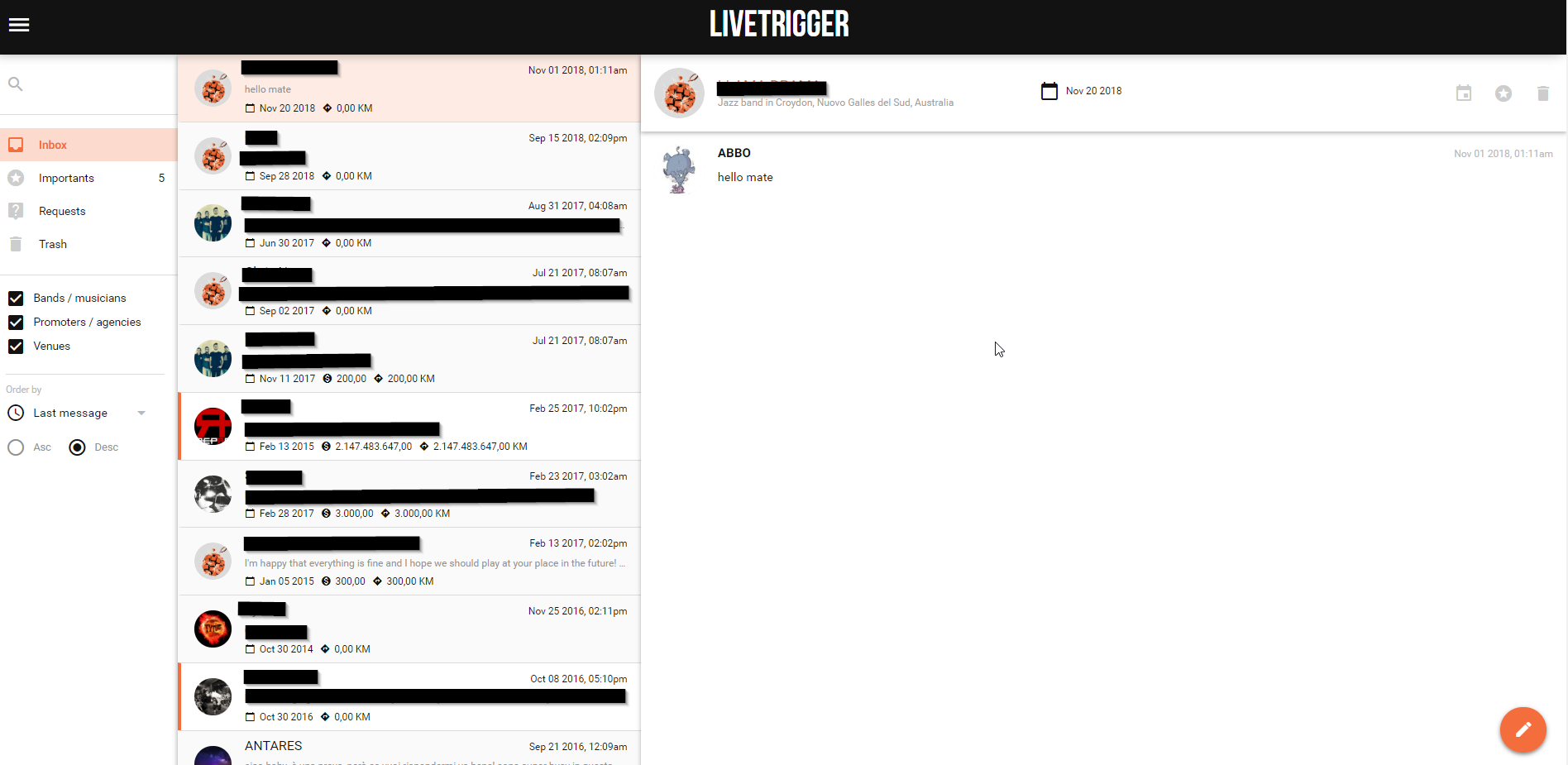 Let's have a look at Abbo's LiveTrigger inbox