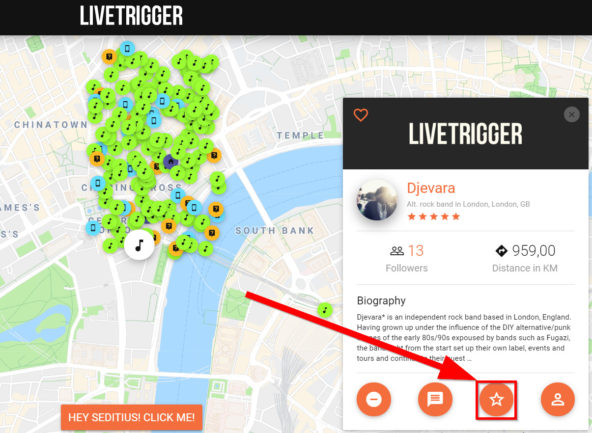 How to rate a user on LiveTrigger through the map