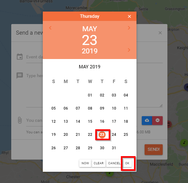 select a date on the gig request module