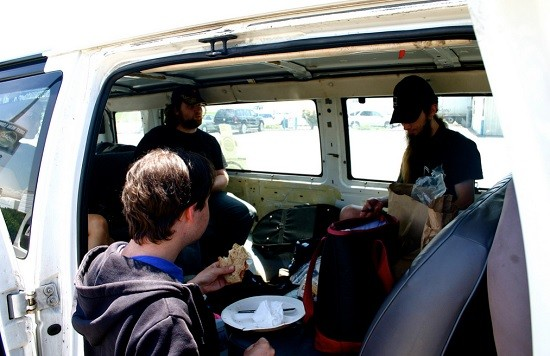 band in van on tour