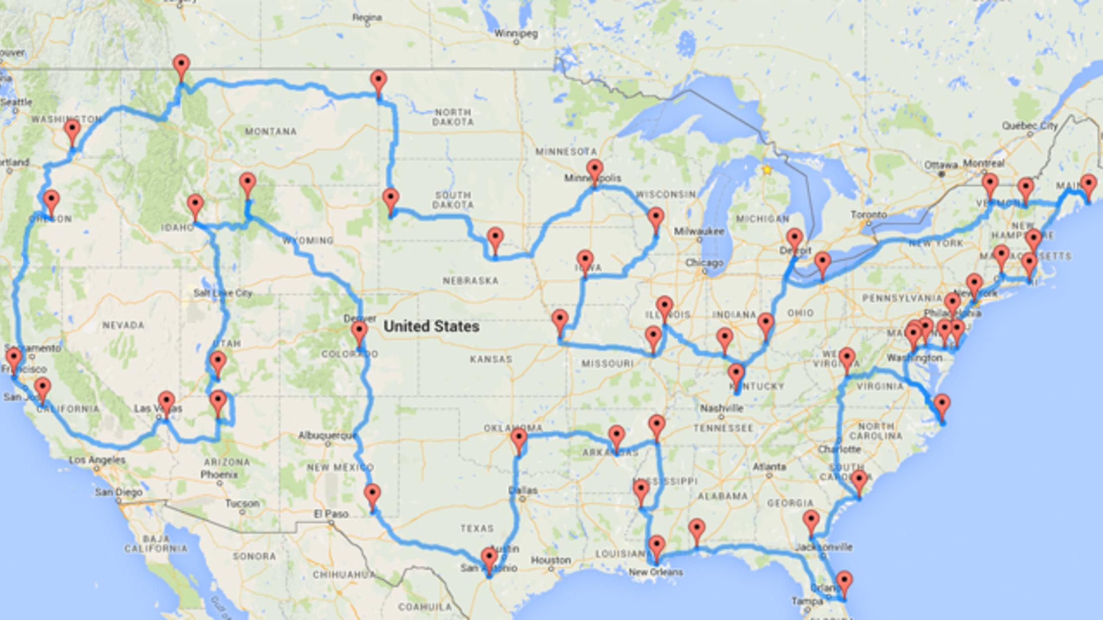 google map usa tour route